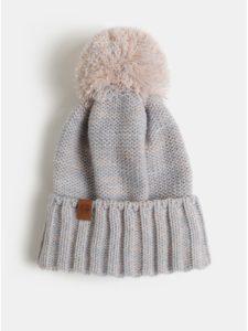 Marhuľovo–sivá melírovaná čiapka s brmbolcom NUGGET Noma