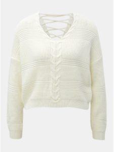 Krémový krátky sveter so šnurovaním Miss Selfridge