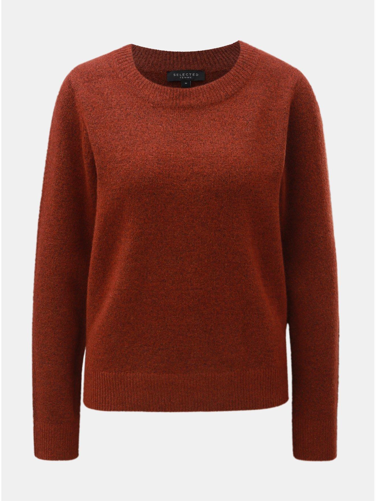 64bd4bd529c2 Hnedý melírovaný sveter s prímesou vlny Selected Femme Enva