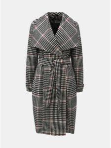Čierno–biely kockovaný dlhý kabát Miss Selfridge