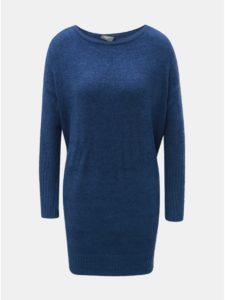 Modré svetrové minišaty s dlhým rukávom a zaväzovaním touch me.
