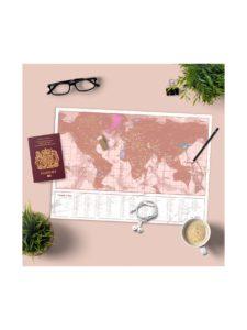 Ružová stieracia mapa Luckies Travel