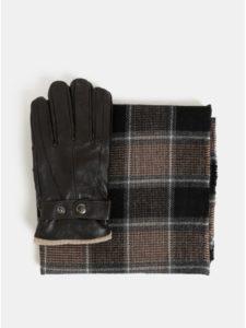Kolekcia šálu a kožených rukavíc v hnedej farbe v darčekovej škatuľke Portland