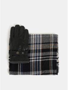 Kolekcia šálu a kožených rukavíc v čiernej farbe v darčekovej škatuľke Portland