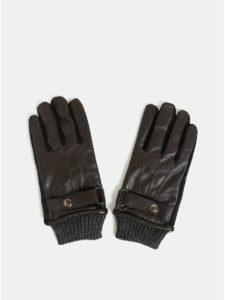 Hnedé dotykové rukavice s koženou vrchnou časťou v darčekovej škatuľke Portland