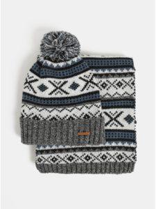 Kolekcia šálu a čiapky v modrej, čiernej a bielej farbe v darčekovej škatuľke Portland