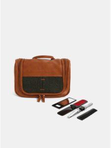 Hnedá kozmetická taška s príslušenstvom Portland