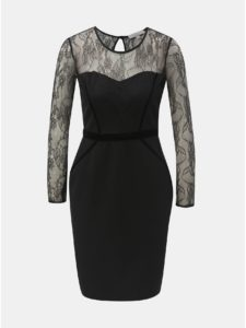 Čierne puzdrové šaty s čipkovaným sedlom a rukávmi Dorothy Perkins Petite