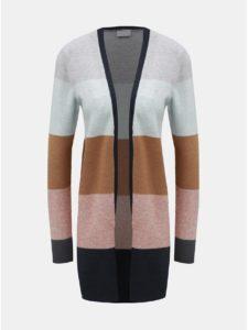 Modro–hnedý pruhovaný sveter s dlhým rukávom VILA Ril