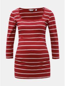 Červené pruhované tehotenské tričko Dorothy Perkins Maternity
