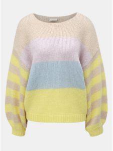 Béžovo–žltý pruhovaný oversize sveter so širokými rukávmi a prímesou vlny VILA Strive
