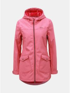 Ružový dámsky softshellový nepremokavý kabát s vreckami LOAP Latisha