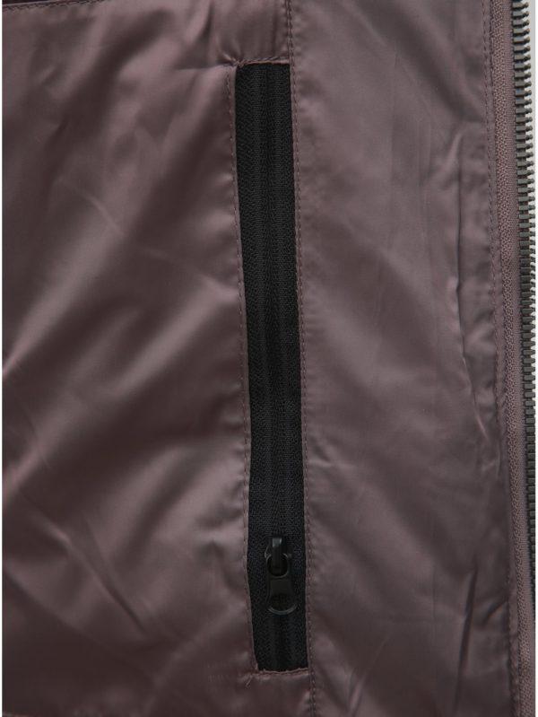 Fialová dámska zimná prešívaná bunda s umelou kožušinkou killtec
