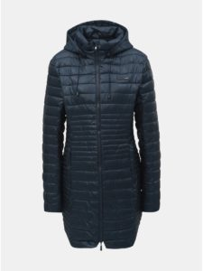 Tmavomodrý dámsky prešívaný nepremokavý kabát s odnímateľnou kapucňou LOAP Jomana