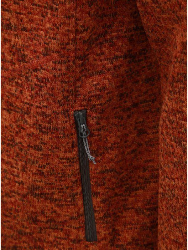 Oranžová pánska melírovaná mikina s golierom LOAP Grove