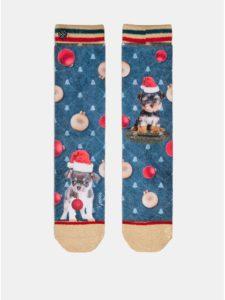 Červeno–modré dámske ponožky s motívom šteniatok v Mikulášskej čiapke XPOOOS