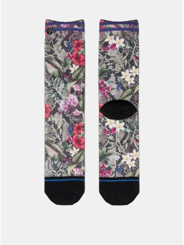 Zeleno–čierne dámske kvetované ponožky XPOOOS