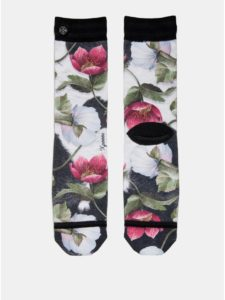 Čierno–biele dámske kvetované ponožky XPOOOS