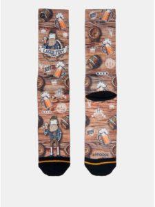 Bielo–hnedé pánske ponožky s motívom piva XPOOOS