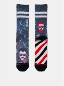 Červeno–modré pánske ponožky s motívom nožničiek XPOOOS