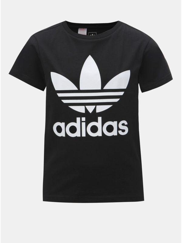 Čierne chlapčenské tričko s potlačou adidas Originals
