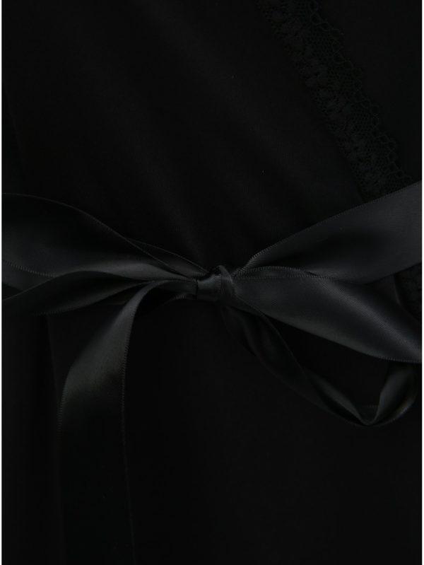 Kolekcia županu s čipkou a táng v čiernej farbe Obsessive