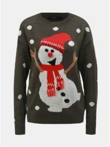 Kaki sveter s motívom snehuliaka VERO MODA Snow