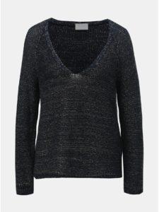 Tmavomodrý melírovaný sveter s metalickým vláknom VILA Diego