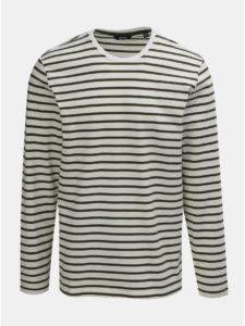 Zeleno–biele pruhované regular tričko s dlhým rukávom ONLY & SONS Evan