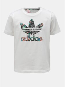 Biele dievčenské tričko s potlačou adidas Originals Zoo