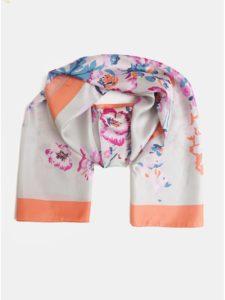 Oranžovo–sivá dámska kvetovaná hodvábna šatka Tom Joule