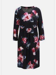 Ružovo–čierne damske kvetované šaty s 3/4 rukávom Tom Joule