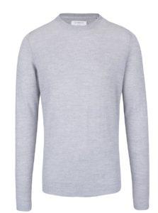Sivý ľahký vlnený sveter s dlhým rukávom Lindbergh