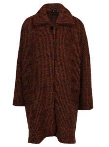 Tehlový melírovaný tenký vlnený kabát Kvinna