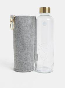 Sklenená fľaša na vodu s viečkom v zlatej farbe EQUA 750 ml