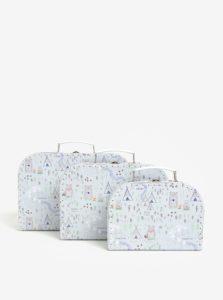 Sada troch svetlozelených vzorovaných kufríkov Sass & Belle