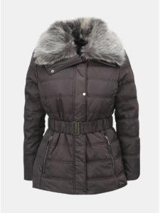 Sivá zimná bunda s odnímateľným golierom z umelej kožušiny Dorothy Perkins