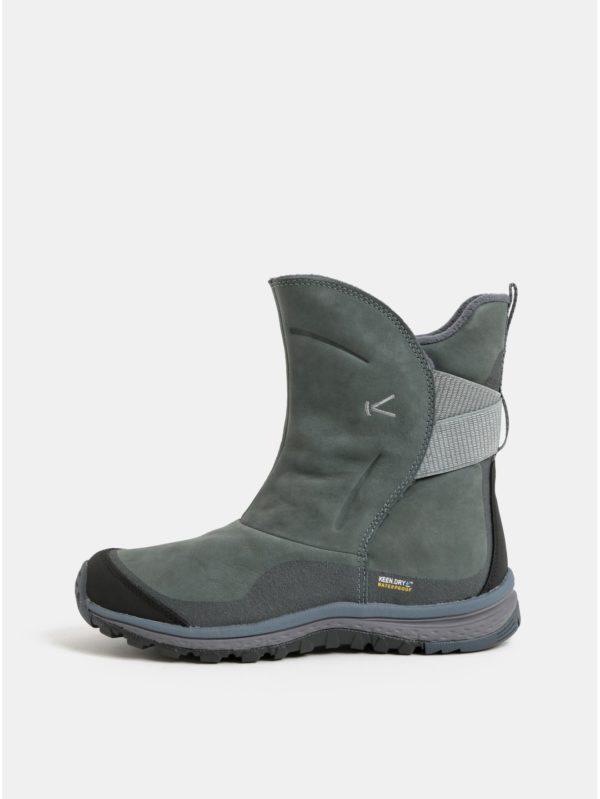 Zelené dámske kožené nepremokavé členkové zimné topánky Keen Lea