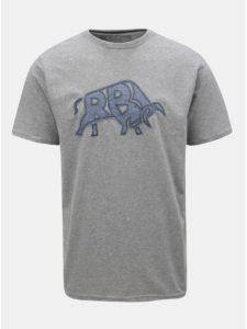 Sivé melírované tričko s nášivkou Raging Bull