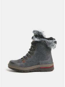 Sivé dámske semišové členkové topánky s vnútornou umelou kožušinou Weinbrenner