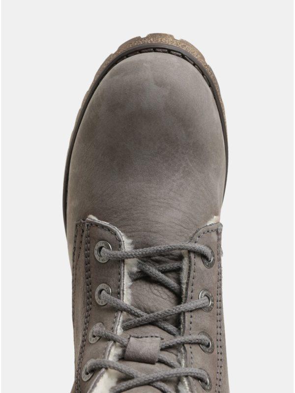 Sivé dámske kožené členkové topánky s vnútornou umelou kožušinkou Weinbrenner