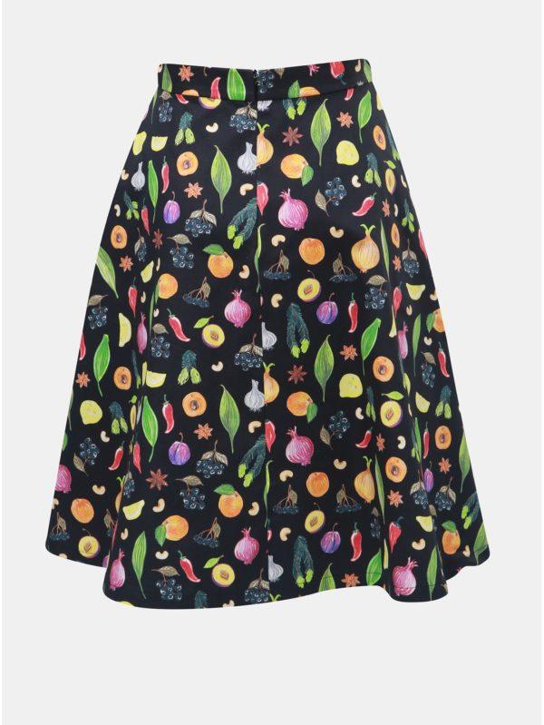 Oranžovo–čierna sukňa s motívom ovocia a zeleniny annanemone
