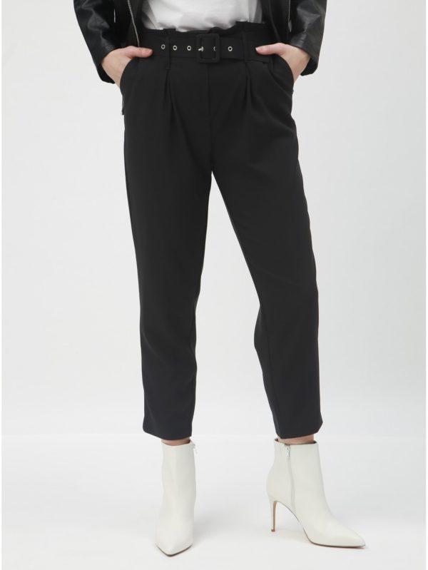 Čierne skrátené nohavice s vysokým pásom a opaskom TALLY WEiJL