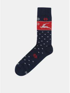 Červeno–modré unisex ponožky s vianočným motívom Fusakle Jelencok