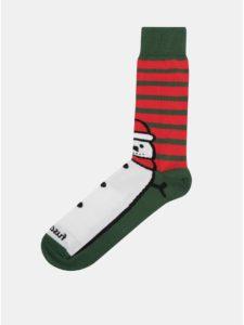 Červeno–zelené unisex ponožky s motívom snehuliaka Fusakle Snehuliak