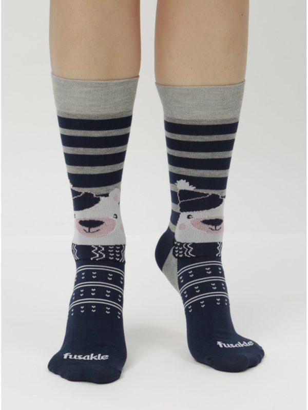 Tmavomodré unisex ponožky s motívom medveďa Fusakle Polar Maco