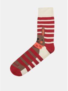 Krémovo–červené unisex ponožky Fusakle No pockaj zajo