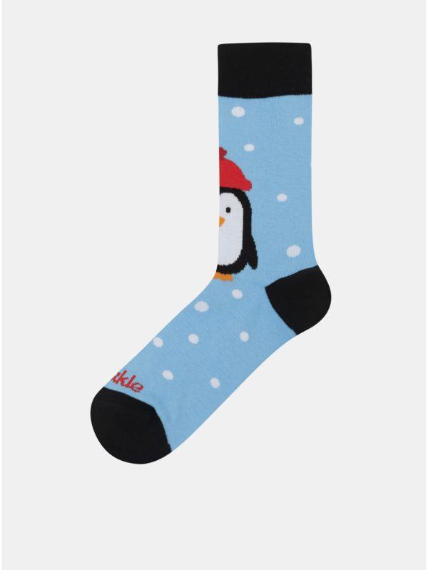 Svetlomodré unisex ponožky s motívom tučniaka Fusakle Pingu