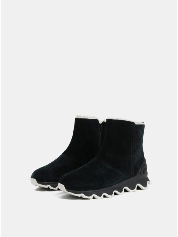 Čierne dámske zimné členkové nepremokavé topánky v semišovej úprave SOREL Kinetic