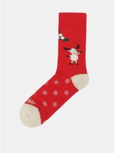 Červené unisex ponožky Fusakle Pod imelom